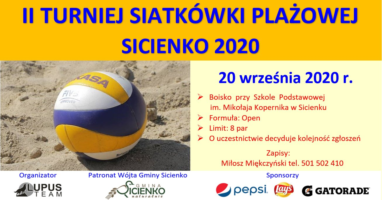 plaka zapraszający na turniej piłki plażowej w sicienku